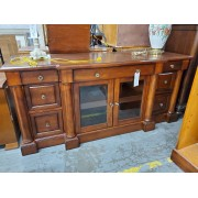 Dark Wood / Glass Front TV Console