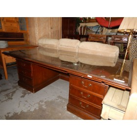 Large Wood / Glass Top Office Desk