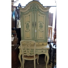 Green / Cream Secretary Desk With Chair