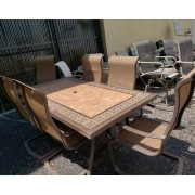 Brown / Tile Top Patio Table - Six Chairs