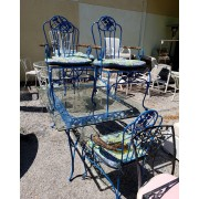 Blue Patio Table / Four Chairs