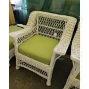 White Wicker Chair / Green Cushion