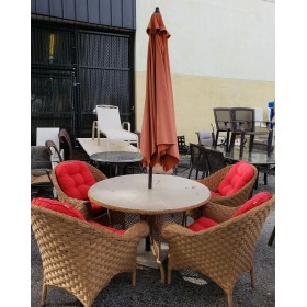 Patio Table With Umbrella & Four Chairs