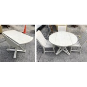 White Washed Dropped Leaf Table With Four Chairs