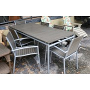 Metal / Wood Patio Table With Six Chairs