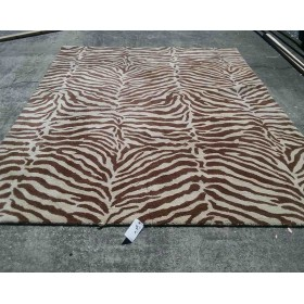 7 x 9 Beige / Brown Zebra Striped Rug