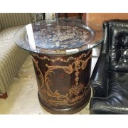 Round Black Asian Side Table