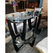 Black / Metal Oval Glass Top Coffee & 2 End Tables