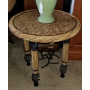 Black / Wicker Metal Table