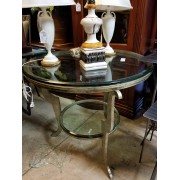 Round Gold / Metal Glass Top Table