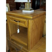 Blonde Wood One Drawer End Table