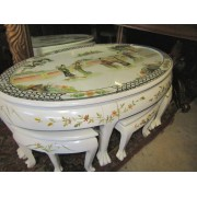 Asian - White Coffee Table With Stools