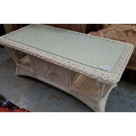 White Washed Wicker Coffee Table