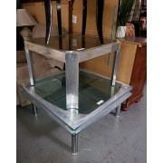 Glass Coffee Table / Silver End Table