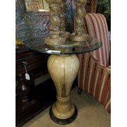 Tall / Glass Top Cream/Black Side Table