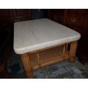 Marble Top / Rattan Base Coffee Table