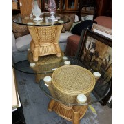 Bamboo/Rattan Glass Top Coffee & Two End Tables