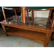 Wood Mission Style Coffee Table / Two Glass Tops