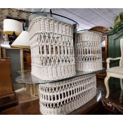 White Wicker Oval Coffee & Two End Tables