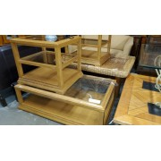 Wood Coffee & Two End Tables / Glass Inserts