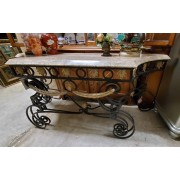 Cream / Faux Marble Top Console Table