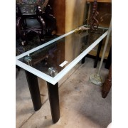 Glass Top / Black Leather Sofa Table