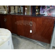 Brown Lacquer Buffet With Mirror
