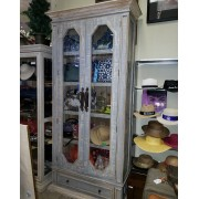 Tall Blue/White Curio With Wood Doors