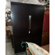 Black Wood Armoire / Chrome Handles