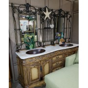 Marble Top Vanity / Double Sinks With Mirror