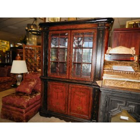 Two Piece Black / Red Hutch