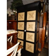 Black / Tan Etched Front / Large Armoire