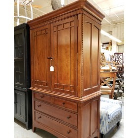 Two Piece Brown Mission Style Armoire