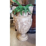Large Cream / Tan Urn With Handle