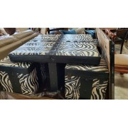 Zebra Table / Ottoman Glass Top With Stools
