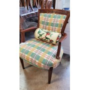 Wood Arm Chair / Plaid Fabric With Rolled Pillow