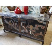 Two Piece Oriental Cabinet On Base