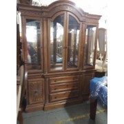 Two Piece Carved Pine Hutch