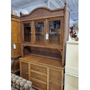 Two Piece Natural Brown Wicker Hutch