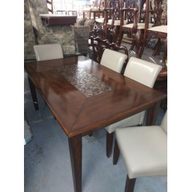 Wood Dining Table With Stone Inlay / Four Chairs