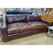 Restoration Hardware - Brown Leather Sofa