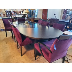 Modern Black Table With 6 Purple Chairs