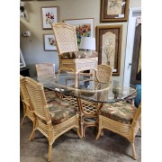 Oval Glass Top - Rattan Dining Table