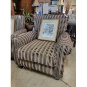Taupe / Brown Striped Arm Chair