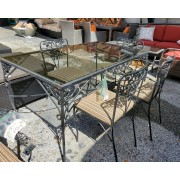 Vintage Black Patio Table With 4 Chairs