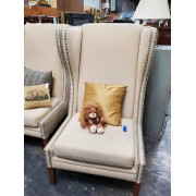 Large Cream / Studded Wingback Chair