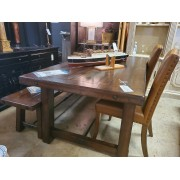 Pottery Barn - Dining Table With Two Leather Chairs & Bench