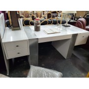 Modern White / Chrome Executive Desk