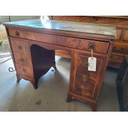 Wood Desk 7 Drawer / Glass Top