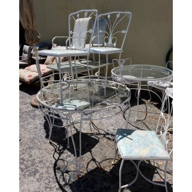 White Metal Patio Table / Four Chairs